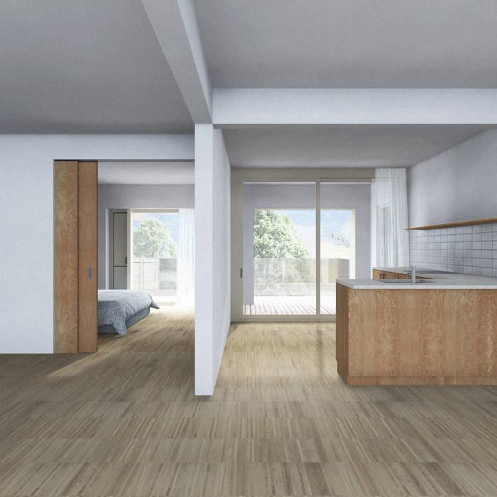 Open keuken - bovenwoning van BLOC7 architecten Minimalistisch Hout Hout