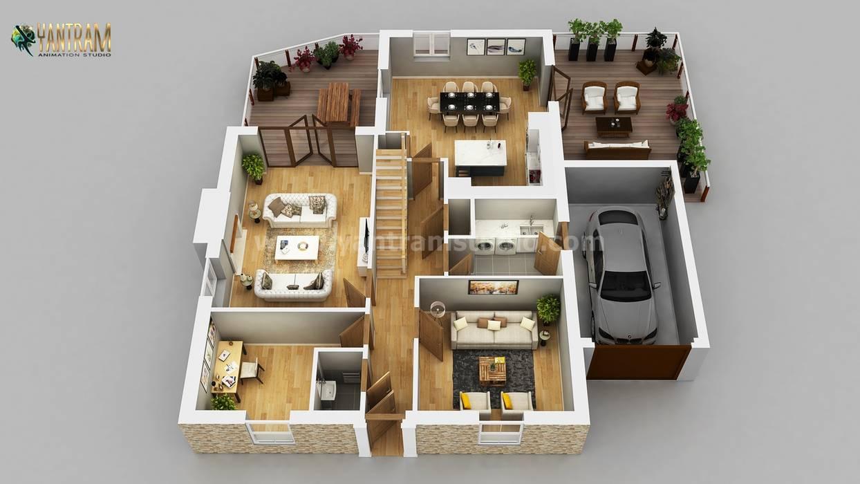 Residential Apartment 3D Floor Plan Design by Architectural Rendering Services, Wasilla – Alaska Yantram Architectural Design Studio Corporation Floors Brown