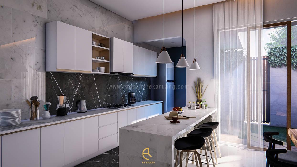 BYU House - Bapak Bayu - Klaten, Jawa Tengah Rancang Reka Ruang Unit dapur Grey