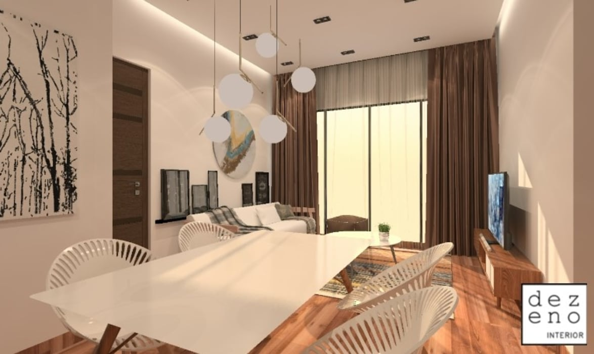 LIVING ROOM & DINING ROOM Dezeno Sdn Bhd Living room Brown