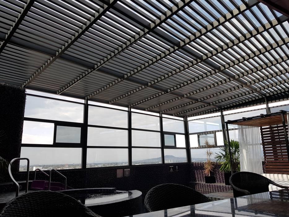 Merkalum Modern balcony, veranda & terrace Aluminium/Zinc Grey
