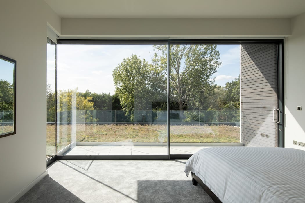 Bedroom with views of green roof Clear Architects Modern style bedroom