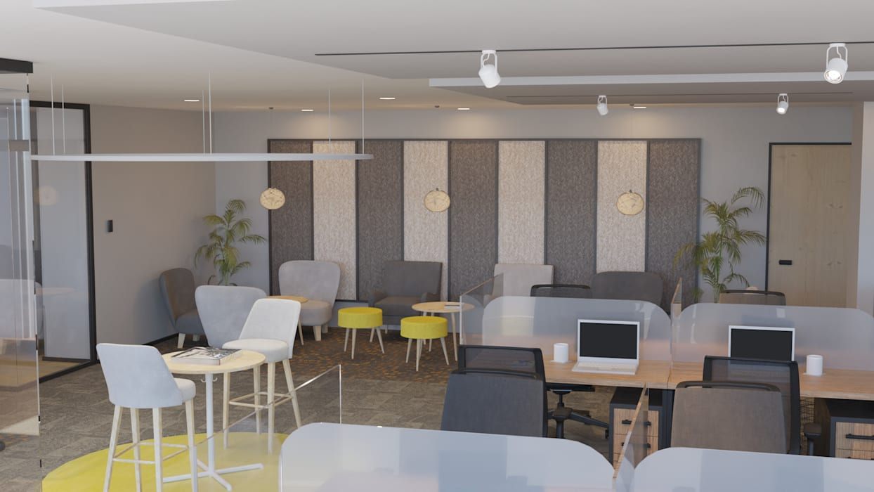 4 + Arquitectura Office spaces & stores Textile Grey