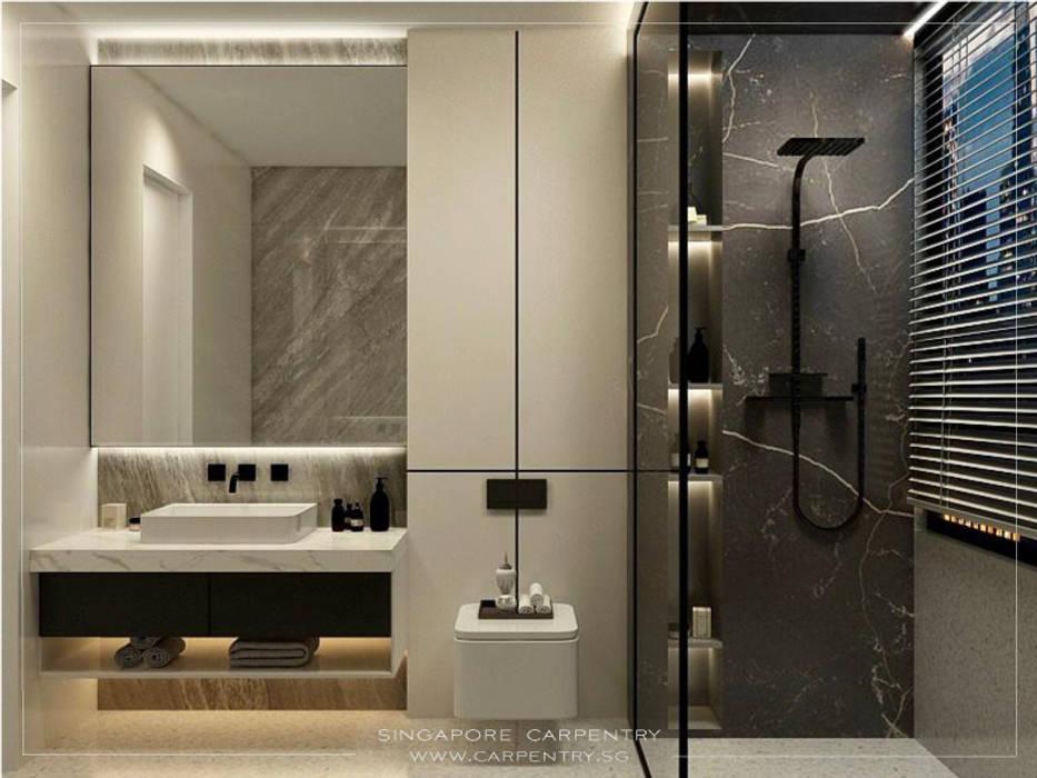 Singapore Carpentry Interior Design Pte Ltd Kamar Mandi Modern Marmer Grey