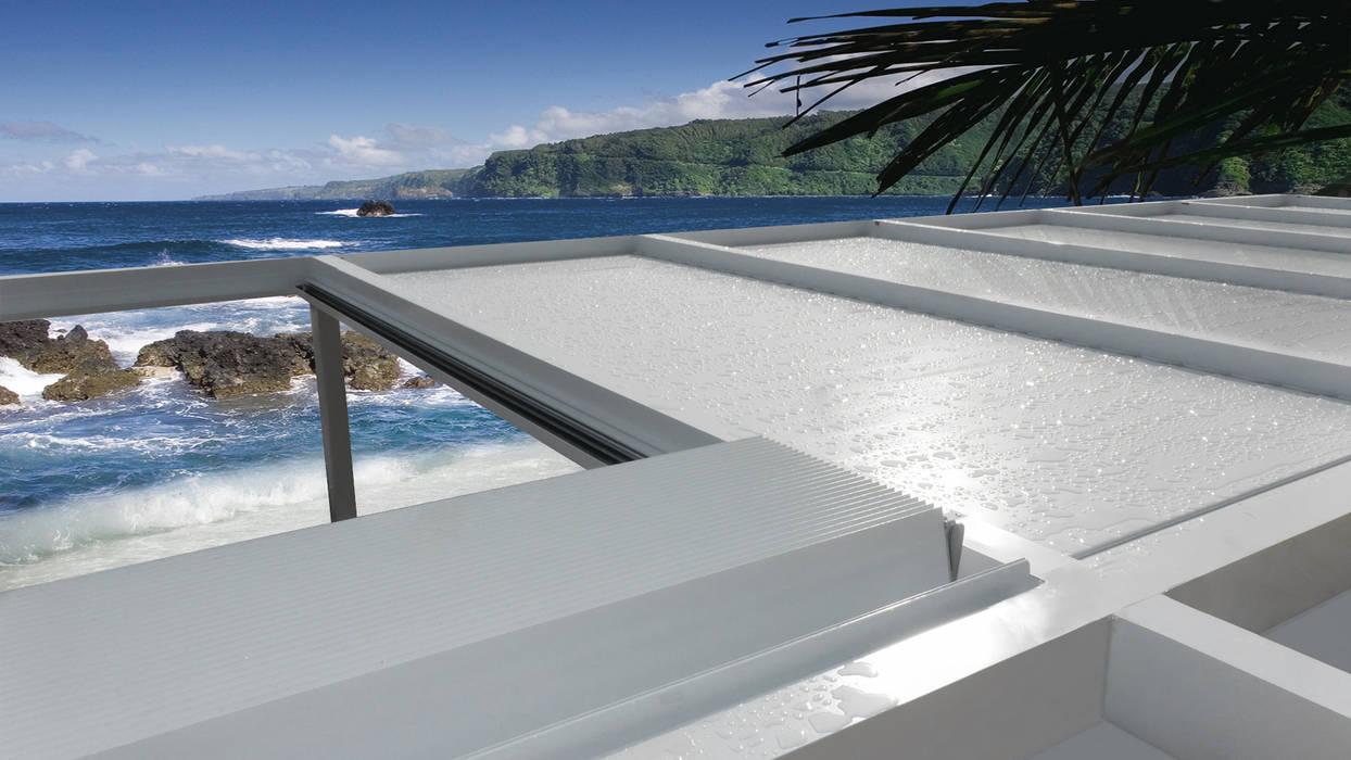 PERGOLA IMPACCHETTABILE unica living design Giardino d'inverno in stile mediterraneo Alluminio / Zinco