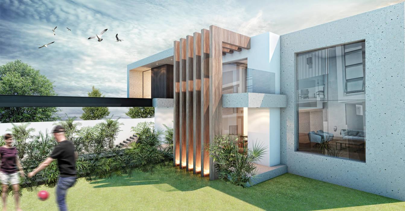 G._ALARQ + TAGA Arquitectos Single family home Marble Wood effect