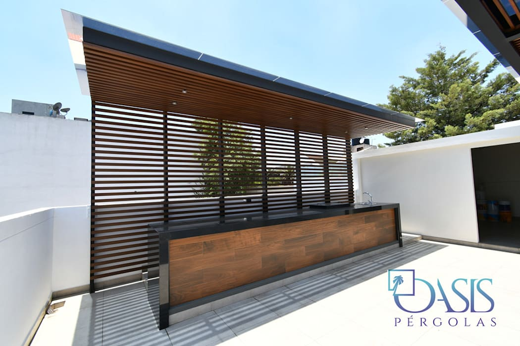 Terraza Extraordinaria CMDX Oasis Pérgolas Balcones y terrazas de estilo moderno