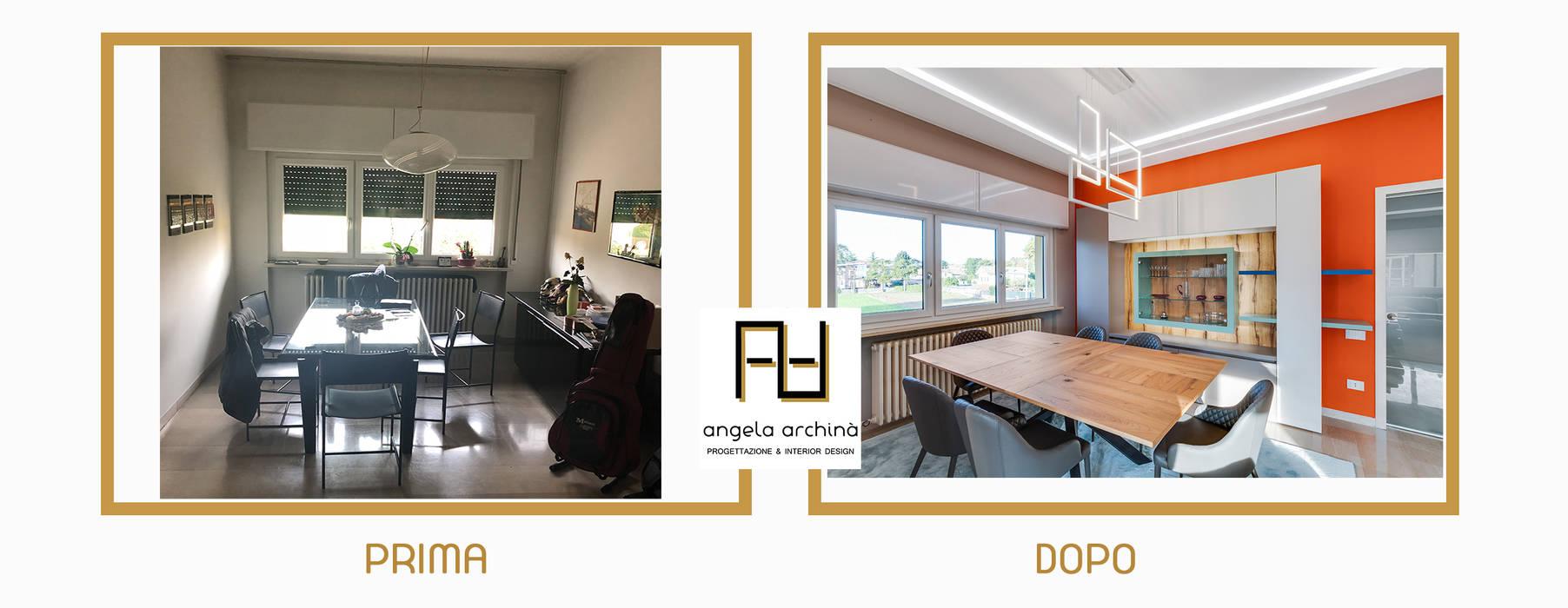 PRIMA E DOPO Angela Archinà Progettazione & Interior Design Sala da pranzo eclettica