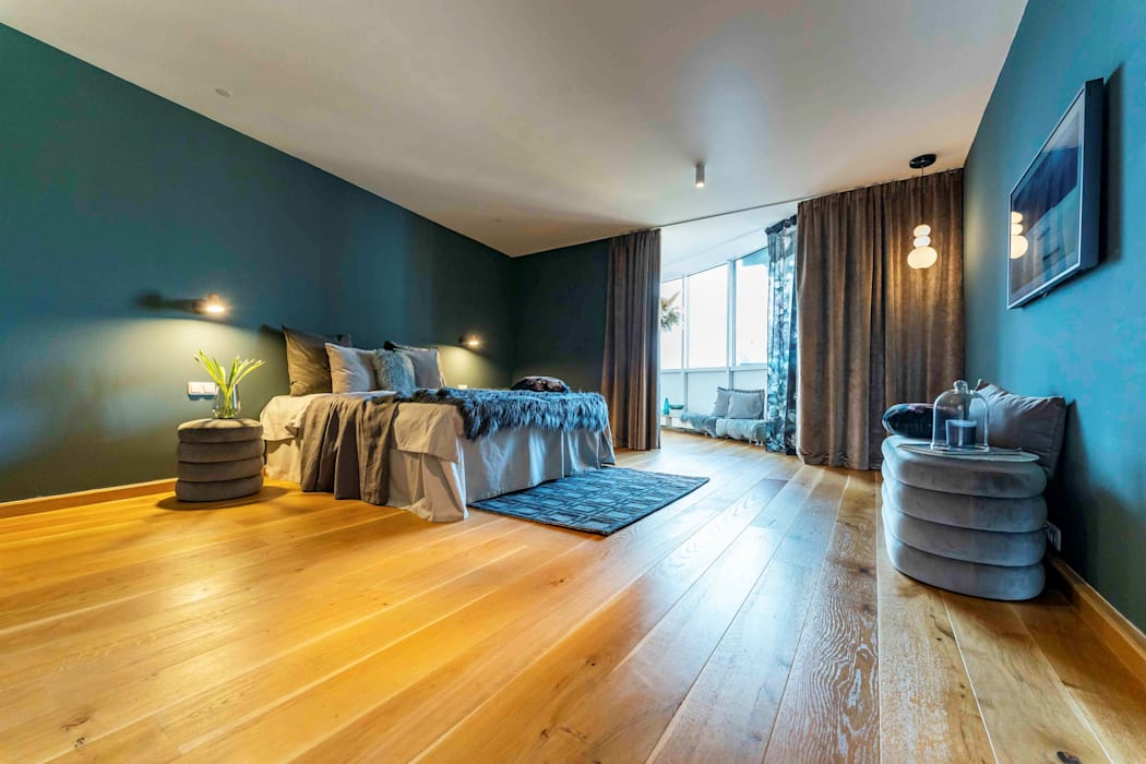 Münchner home staging Agentur GESCHKA Modern Bedroom Blue