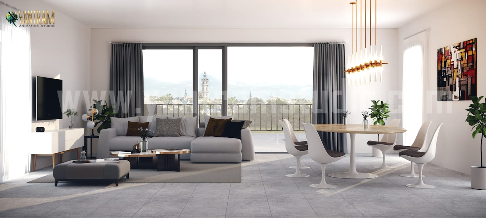 Living room with Dining area concept of Interior Design Firms by Architectural Design Studio, Hurricane - West Virginia Yantram Architectural Design Studio Corporation اتاق غذاخوری