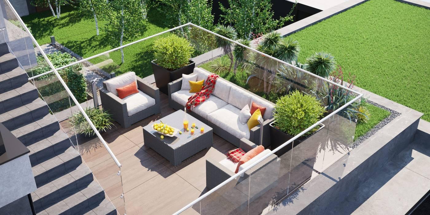 Студия дизайна ROMANIUK DESIGN Minimalist balcony, veranda & terrace