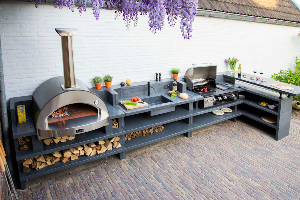 Wood-fired oven and barbecue Alfa Forni Balconies, verandas & terraces Accessories & decoration