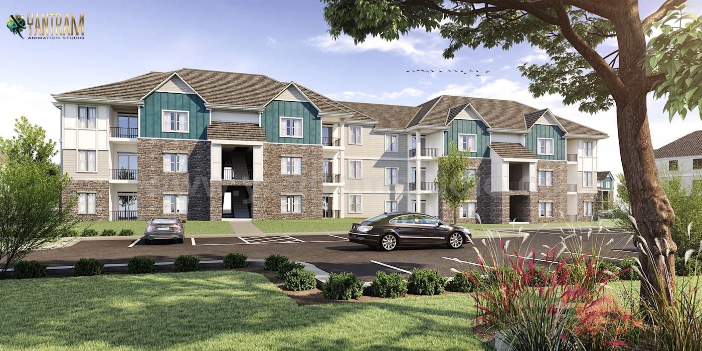 Modern Residential House 3D Rendering Services By Architectural Design Studio, Oak Hill - West Virginia Yantram Architectural Design Studio Corporation بالکن،ایوان وتراس چوب پنبه Black
