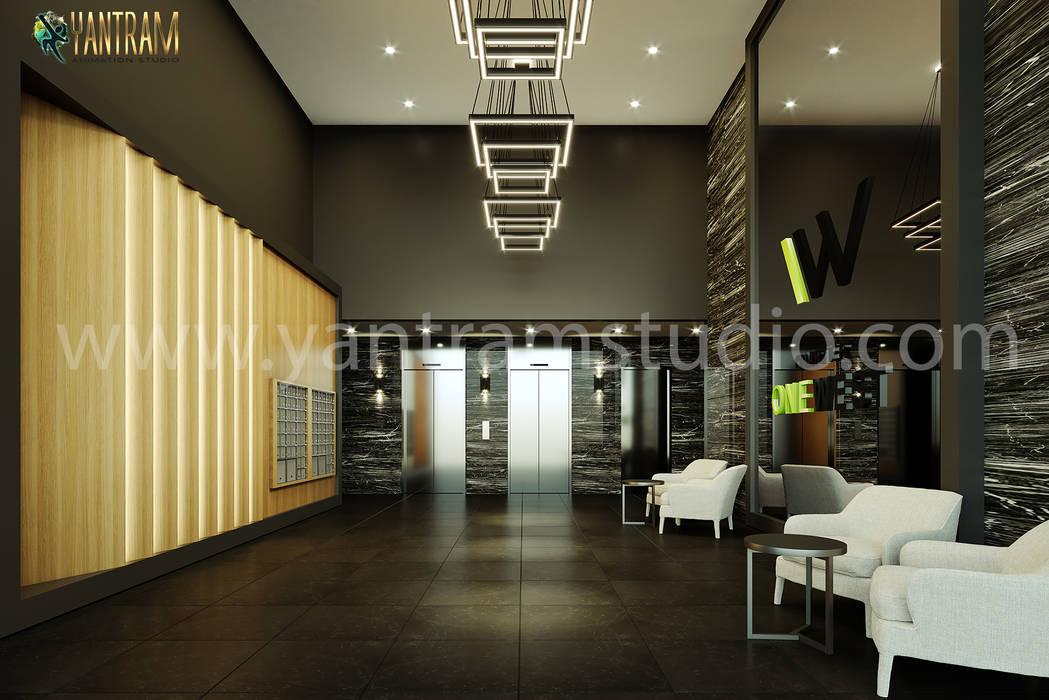 3d interior design rendering views of the lobby, kitchen, gym, bathroom, pool by Architectural Design Studio 2021, Chicago - Illinois Yantram Architectural Design Studio Corporation طبقه نی/ بامبو Black
