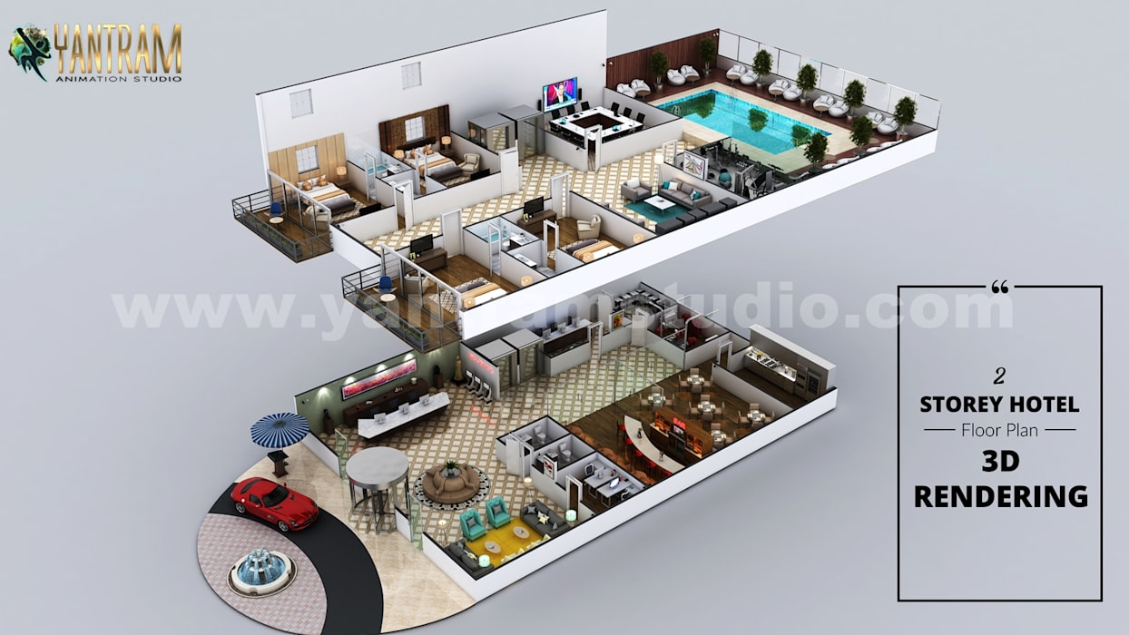 Hotel 3D Virtual Floor Plan Rendering With Beautiful Backyard Pool Landscaping by Architectural Modeling Firm, San Antonio, Texas Yantram Architectural Design Studio Corporation Floors
