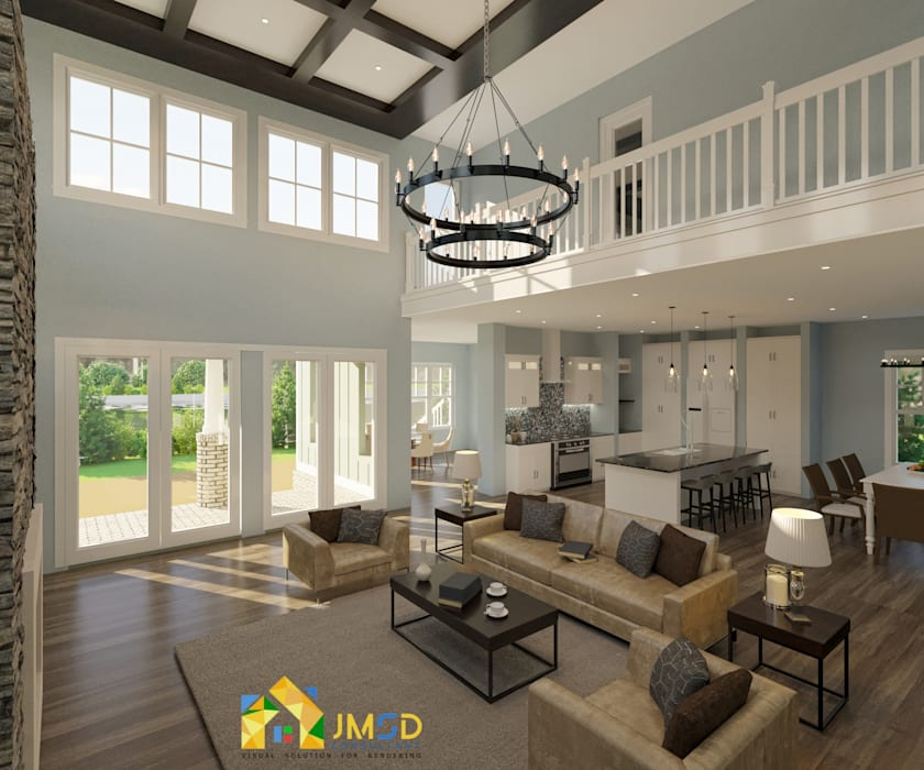 Photorealistic 3D Interior Rendering Services for Home JMSD Consultant - 3D Architectural Visualization Studio Living roomAccessories & decoration Concrete Brown