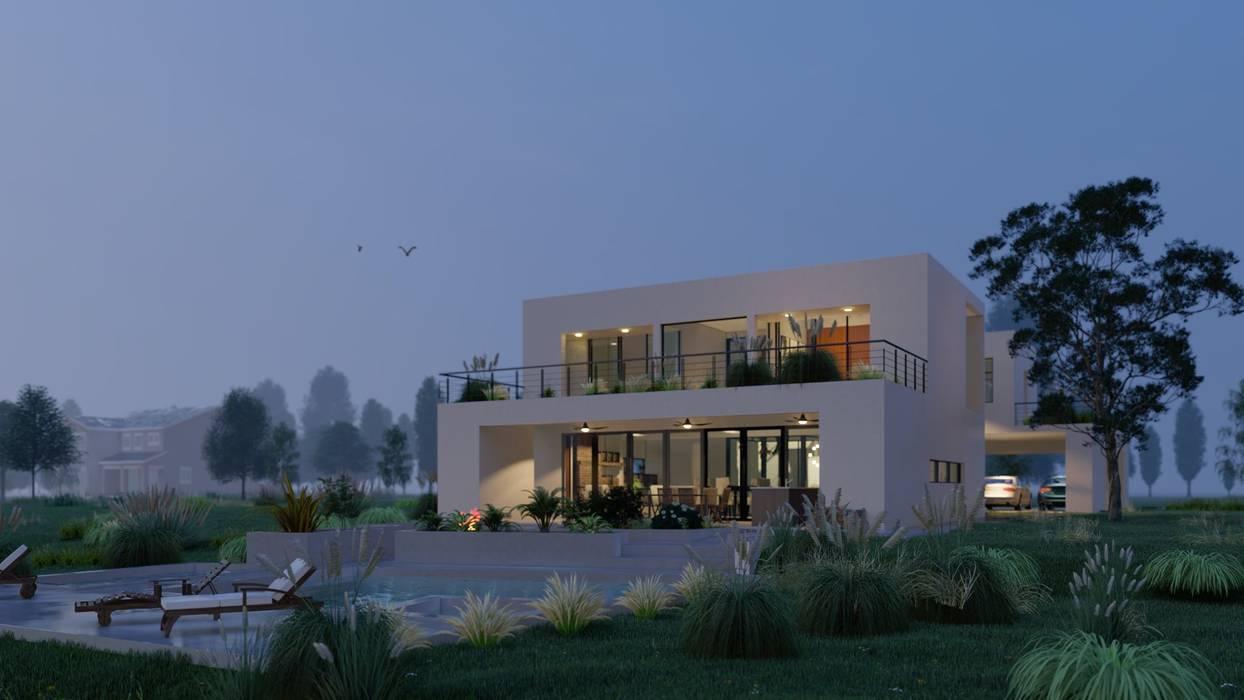 Casa 51 - Puertos del Lago, Escobar - Image fondo D4-Arquitectos Casas unifamiliares Madera Blanco