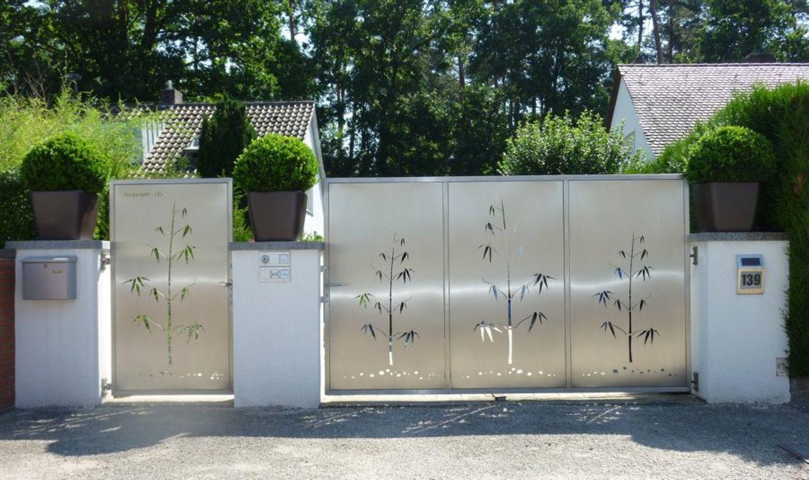 Edelstahl Einfahrtstor Edelstahl Atelier Crouse: Moderner Garten