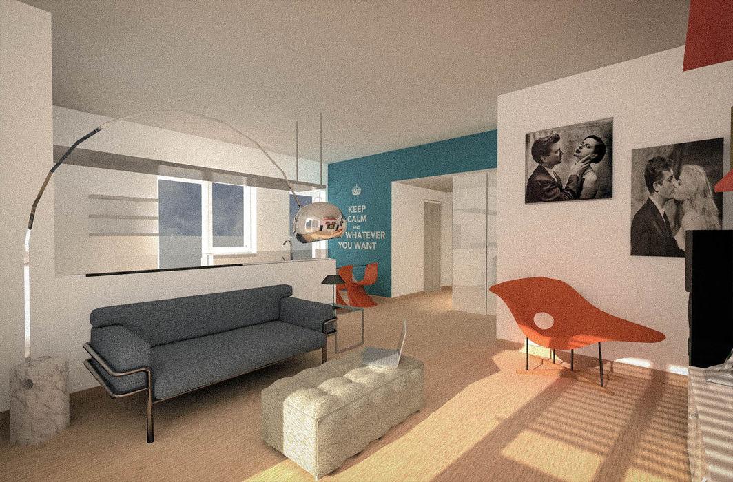 Appartamento privato - Roma Marco D'Andrea Architettura Interior Design Soggiorno eclettico