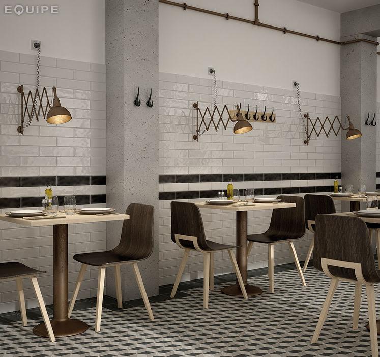 Masia Gris Claro, Oscuro 7,5x30 Equipe Ceramicas Comedores de estilo mediterráneo Cerámico Gris