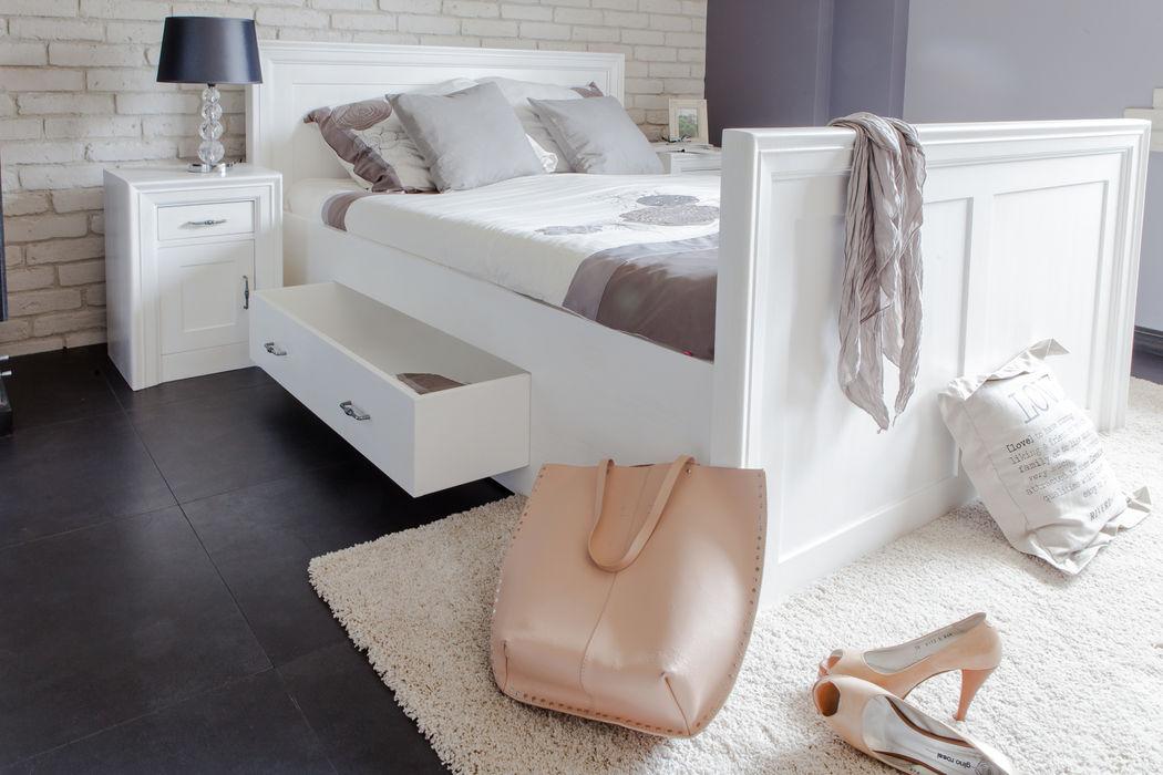 Massivholz Bett in Weiss Massiv aus Holz SchlafzimmerBetten und Kopfteile