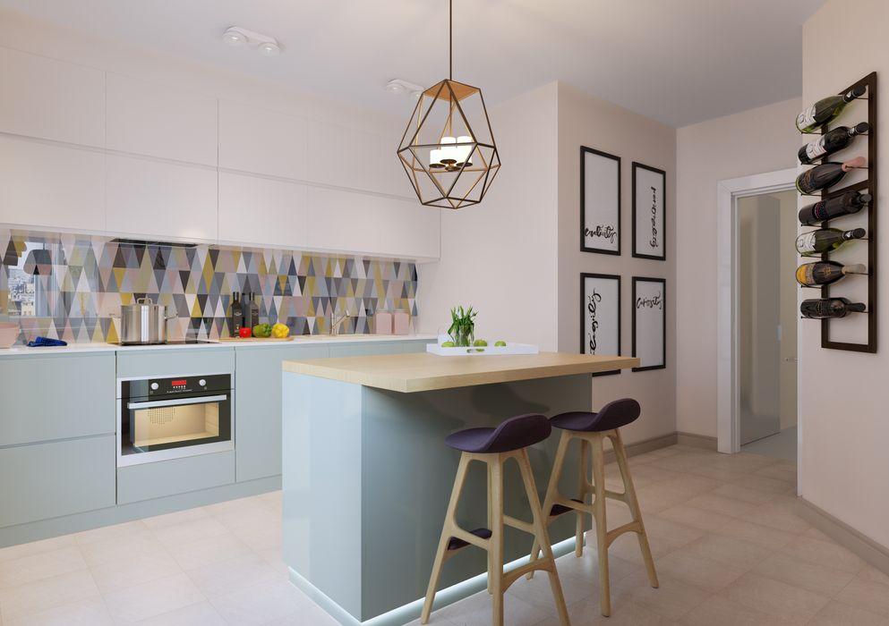 Яркая индивидуальность в типовой квартире Anna Clark Interiors Кухня в скандинавском стиле