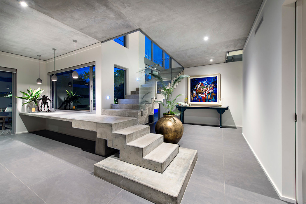 Concrete Stairs D-Max Photography Industrial style corridor, hallway and stairs