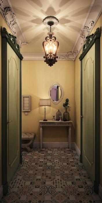"""""""Мелодии летнего утра""""- небольшая квартира в центре г.Хельсинки. Marina Sarkisyan Коридор, прихожая и лестница в эклектичном стиле"""