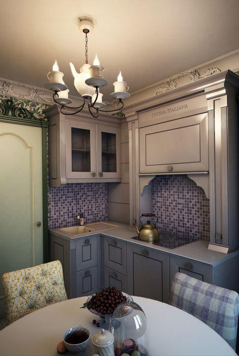 """""""Мелодии летнего утра""""- небольшая квартира в центре г.Хельсинки. Marina Sarkisyan Кухни в эклектичном стиле"""