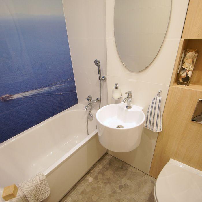 Łazienka z widokiem na morze Aleksandra Jaros Pracownia Architektury i Wnętrz Śródziemnomorska łazienka