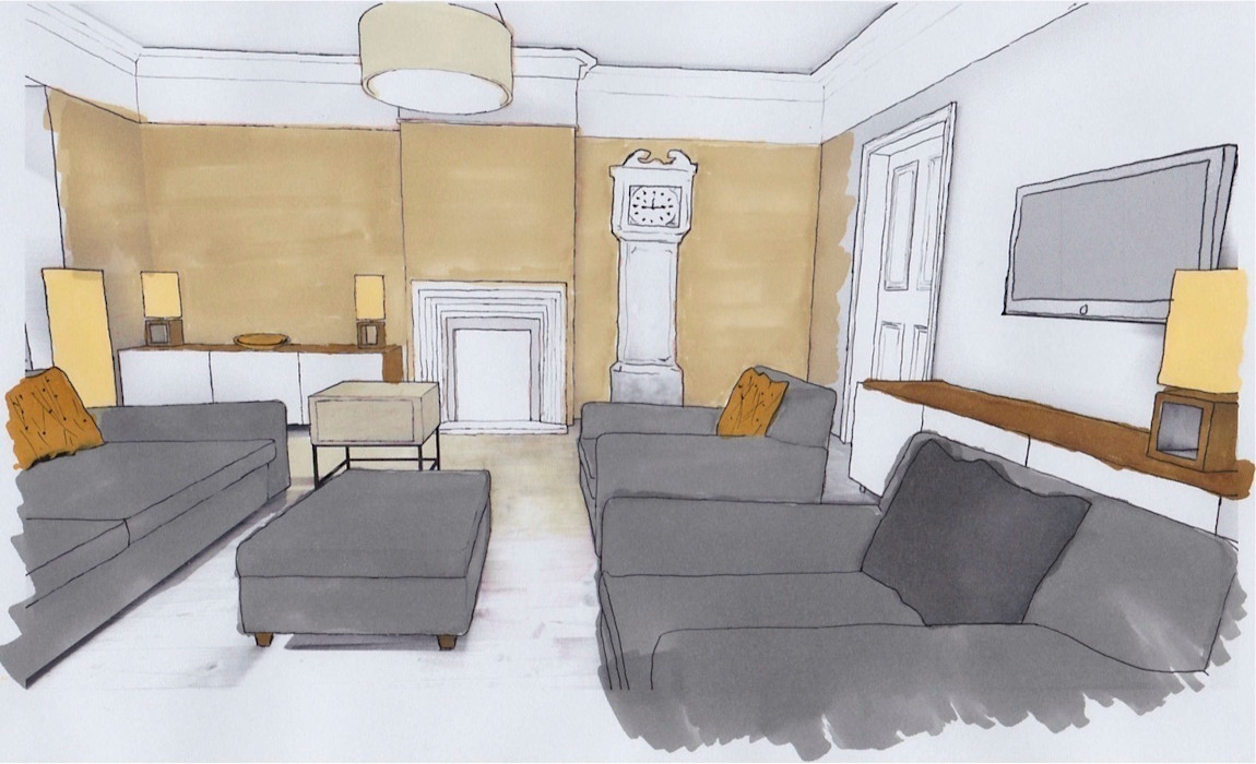 Living Room, Presentation Sketch Cathy Phillips & Co