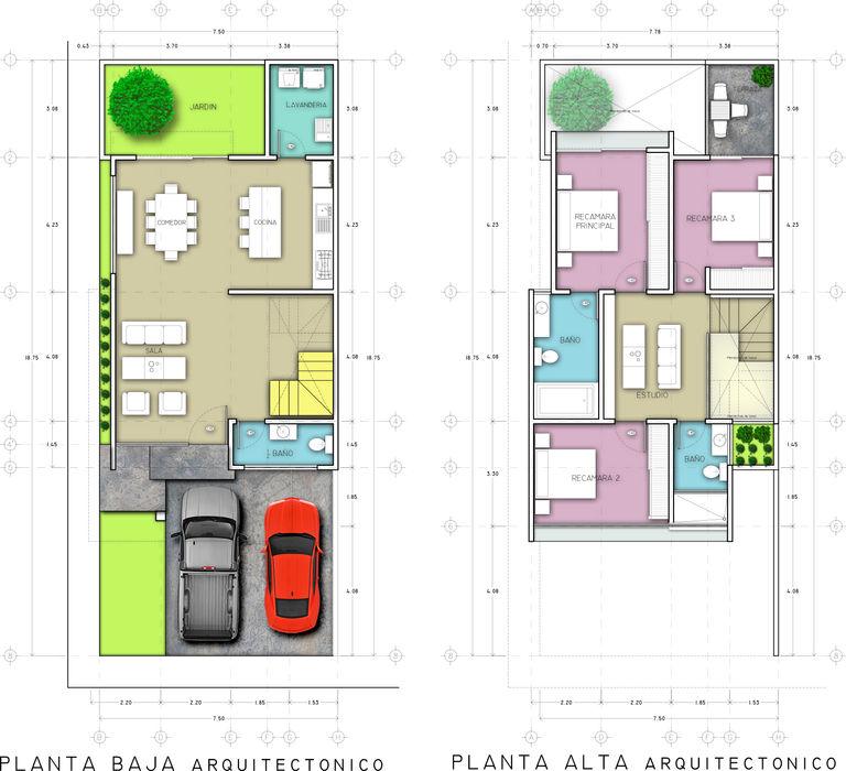 PLANTAS ARQUITECTONICAS RAFAEL GUZMAN MADRID TALLER DE ARQUITECTURA Pasillos, vestíbulos y escaleras modernos