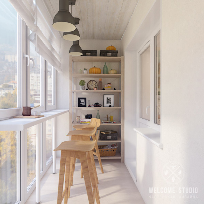 Лоджия, ракурс 1 Мастерская дизайна Welcome Studio Балкон в скандинавском стиле