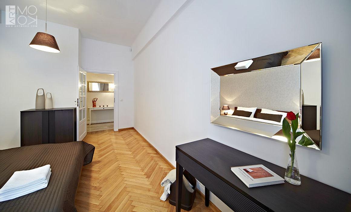Sypialnia dla gości Pracownia projektowa artMOKO Eklektyczna sypialnia