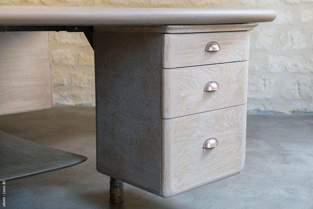 """Bureau """"4 postes"""" - détail caisson Jean Zündel meubles rares Espaces de bureaux classiques"""