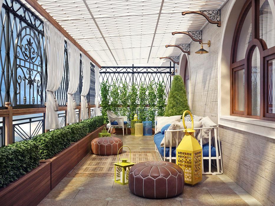 Летняя терраса в частном доме Sweet Home Design Терраса в средиземноморском стиле
