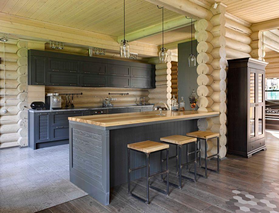 ЗАГОРОДНЫЙ ДОМ-ДАЧА, УЛЬЯНОВСКАЯ ОБЛАСТЬ 2014 ГОД Lavka-design дизайн бюро Кухня в рустикальном стиле