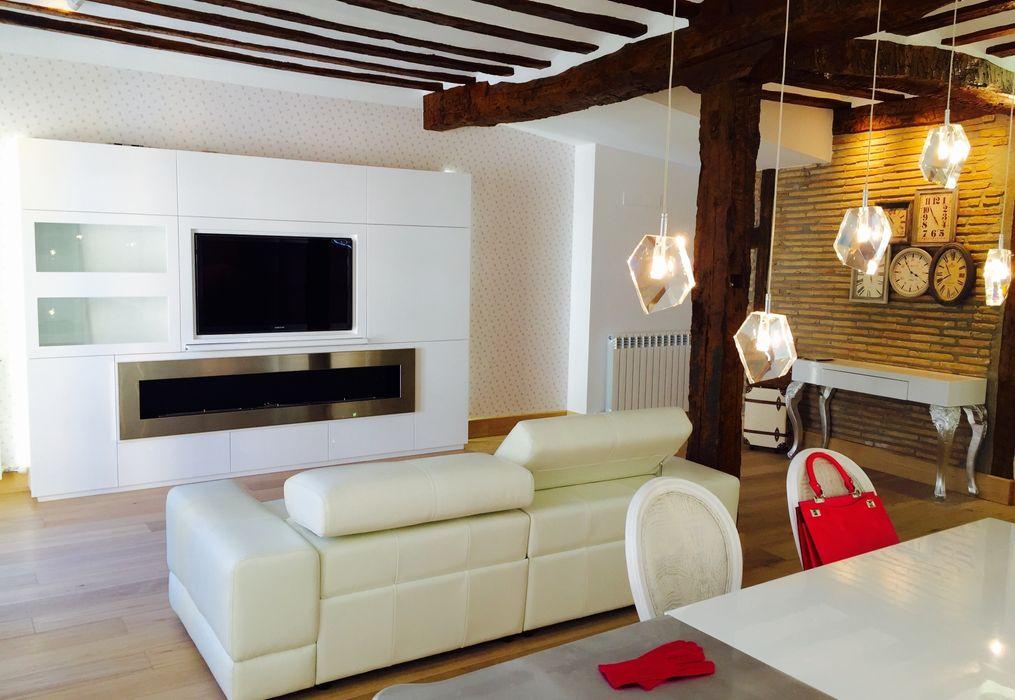 Decoración de interiores con chimenea de bioetanol XXL by Shioconcept Shio Concept Salones de estilo moderno