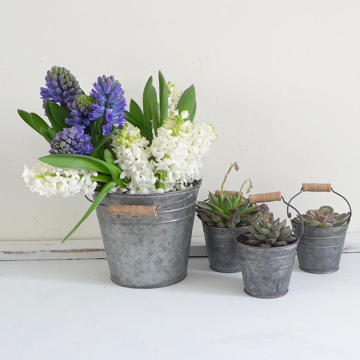 Zinc Metal Bucket Lilac Coast JardínJarrones y macetas