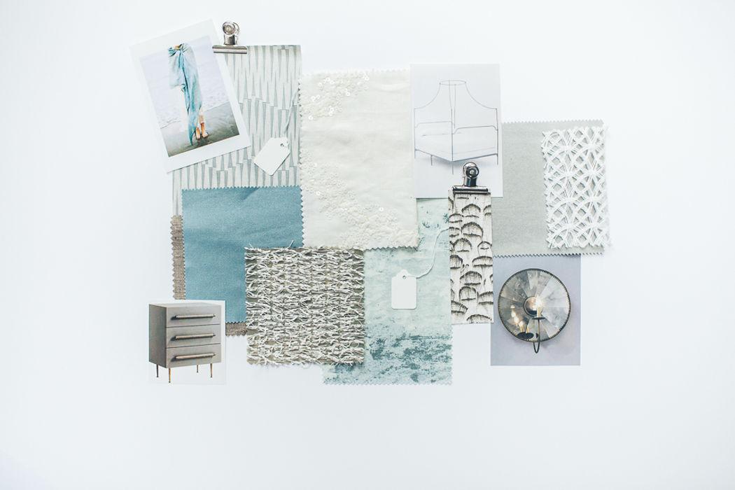 Sample Board - Restful Aqua Bedroom Lauren Gilberthorpe Interiors