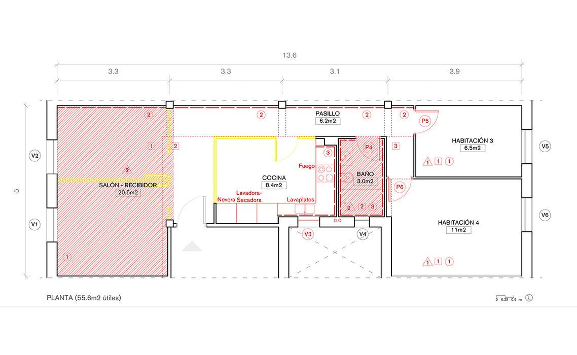50S Apartment Salas Arquitectura+Diseño Casas de estilo moderno