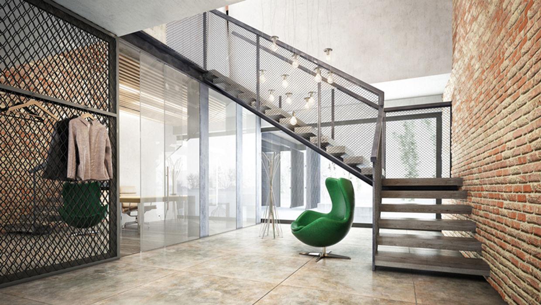 Projekty domów - House x07 Majchrzak Pracownia Projektowa Nowoczesny korytarz, przedpokój i schody