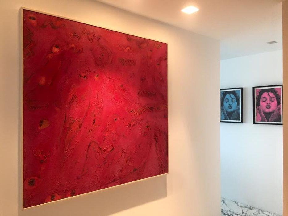 THE ST. REGIS Barra de Arquitectura Mexicana Pasillos, vestíbulos y escaleras minimalistas Rojo