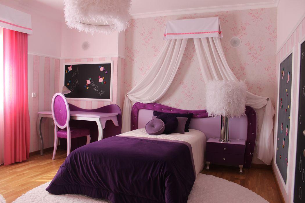 Quarto de menina by andreia Louraço Design e interiores homify Quartos de criança modernos Madeira Roxo/violeta