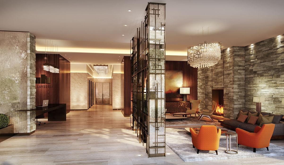 Folio Design | The Cricketers | Reception Folio Design Modern corridor, hallway & stairs