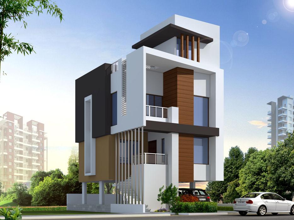 ROW HOUSE HAVING THREE BEDROOMS Spacemekk Designers p.LTD Modern houses Wood Brown