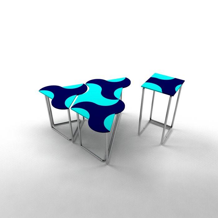 Mavi Ayça Sevinç Tasarım Oturma OdasıKenar Masa & Tablaları
