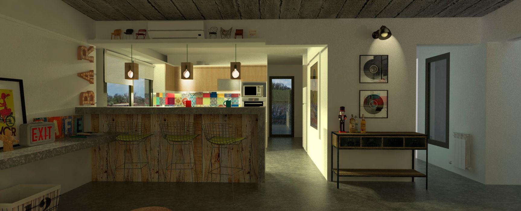 Diseño de cocina y estar para proyecto Casa Primma Estudio 17.30 Cocinas eclécticas