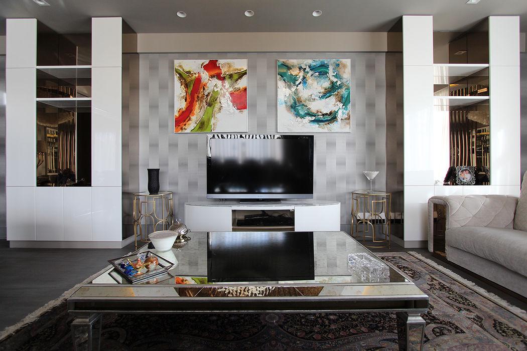 Living Room Renovation Orkun Indere Interiors Salones modernos Vidrio Verde
