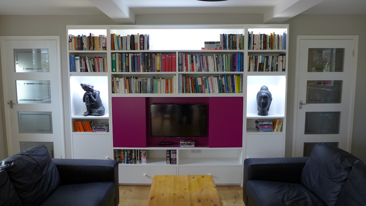 TV Wall Unit Style Within Salas multimedia modernas